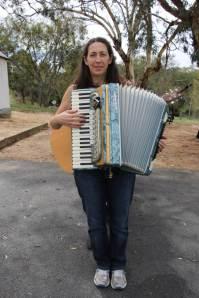Liz on accordion